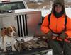 Evan Blakley with Zeke and four rabbits he shot near Rochester MN