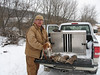Joe Schueler with Zeke and four rabbits bagged near Rochester MN