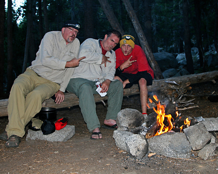 Jake, Michael and myself goofing at the fire the first evening on the trail.