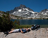 Yep, this is where we found JD when we arrived at 1000 Island lake. Banner Peak is in the background.