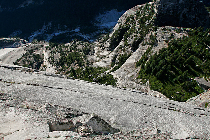 Straight down over the edge of Half Dome.