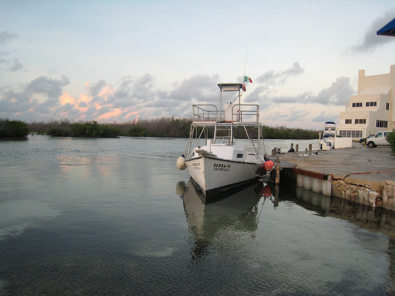 Clay's scuba dive boat on a quiet morning in Cancun Mexico.
