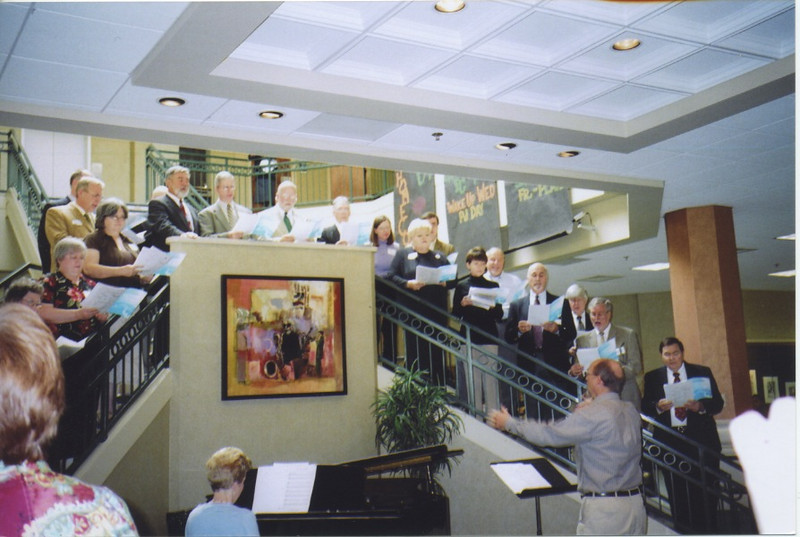 Clay directing the Belhaven College reunion choir in 2008. He was only a member back in 1970-72, but his drum major experience served him well.