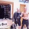 Clay with Divemaster after a scuba dive in the Red Sea during our Q-family Egypt vacation.