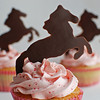 strawberry cupcakes with strawberry buttercream, chocolate horses