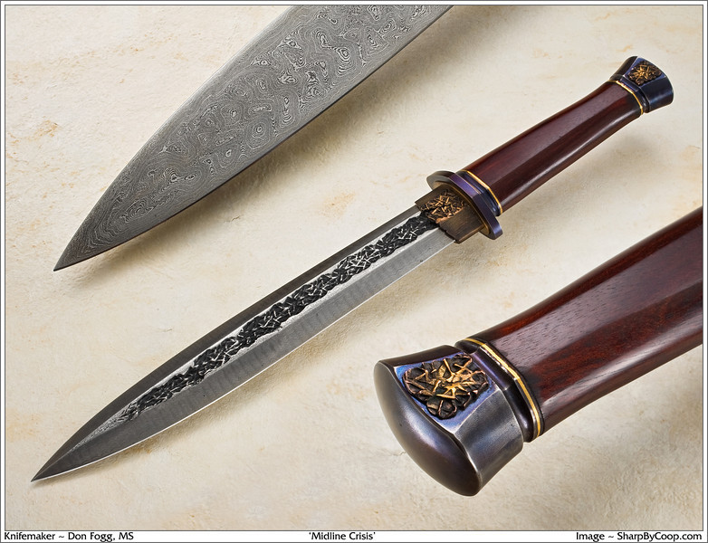 """Large dagger in textured damascus by Don Fogg.  The piece is named """"Midline Crisis"""".  The photo is by Jim Cooper at SharpByCoop.com."""