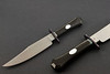 Jason Knight bowie, handled in ebony with mother-of-pearl escutcheons.