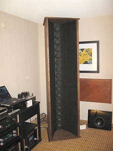 The Sound Science Model One line array is a dipole with a waveguide. It uses 16 full range drivers and is intended for use with a separate subwoofer and digital room correction. The following web page link is given in the RMAF program, but I find no mention of the Model One there. www.soundsciencecat.com