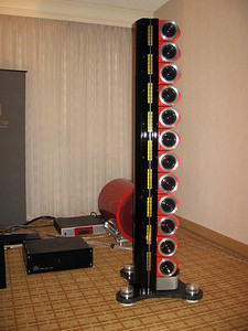 The Scaena line array with dedicated subwoofer in the background  www.scaena.com