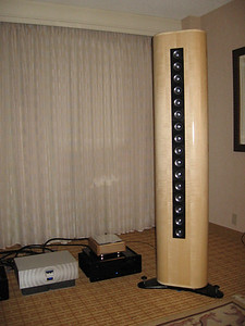 The ClairAudient LSA 16 Line Array. This speaker uses 50mm full range drivers and is available in 4, 8, 16 (shown), 24, and 32 driver versions. The promotional material includes a link to Audience, LLC, but I could find no information there. www.audience-av.com