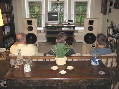 Three bottleheads listening to the Velvet Hammers.