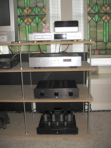 A  closer view of the equipment rack. Top to bottom: Squeezebox, Onix XCD-88 CD player, Lite Audio DAC-60, Assemblage hybrid preamp, Assemblage EL-34 amp.