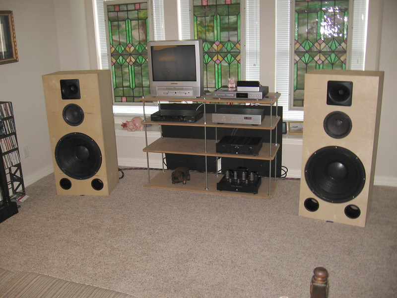 The Velvet Hammer 18 speakers driven by an Assemblage EL34 push-pull amp.