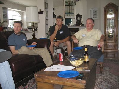 L to R: Paul Jackson, Tom Richards, and Skip Pack in the downstairs listening room.