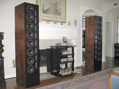 Another view of the downstairs system including the Selah Audio XT-8 line arrays.