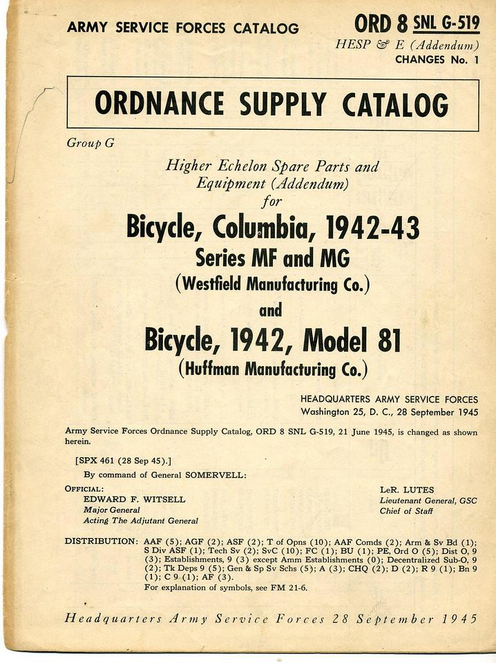 ORD 8 SNL G-519 <br /> CHANGES No.1<br /> <br /> 28 SEPT 1945 <br /> <br /> (CLJ COLLECTION)