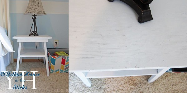 I've had this table for years, but never had a place for it. I spray painted it white and I really like how the rustic quality still shows.