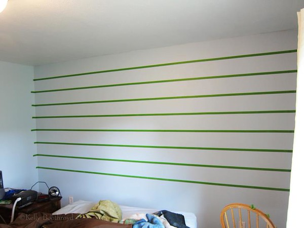 "A bedroom revamp. I'm just getting started with redoing this room. I decided to add some stripes. I did 8"" stripes."