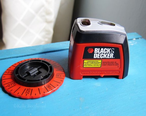 This is a handy little laser level I used to get the lines straight. $20 at walmart.