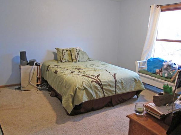 Before.<br />  This is a room I've been working on for awhile. I got rid of the original headboard a year ago because it was so ugly. I thought it looked better without one!