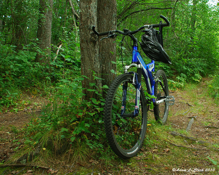 My bike on the trails off of the bike path at Ashuelot River Park