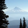 "The classic cone shaped volcanic summit of 11,239 ft Mt Hood in Oregon. Photo by ""Dragger"", courtesy of the summitpost.org website, taken in October 2005."