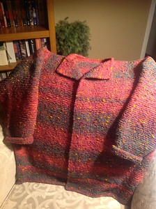 Made with yarn bought while on vacation in Canmore, Alberta during early summer of 2013.  James C. Brett - Fusion - Chunky  Mama Bear Cardigan