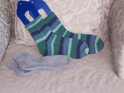 Grey slipper socks and blue stripey socks that I just finished. :)