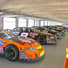 "The racecars in the ""garage"""