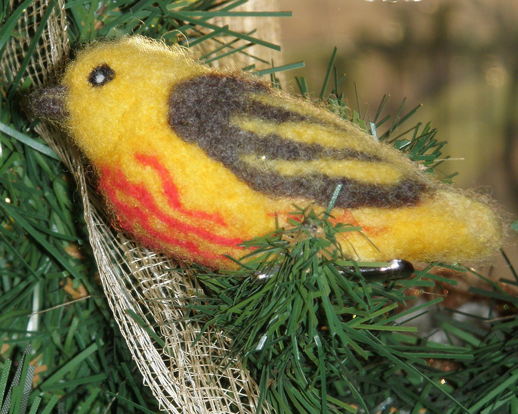 Yellow Warbler - Setophaga petechia - Hannah hasn't developed a pattern for this bird, but consider it inspiration. Once you get comfortable with making the birds, the possibilities are endless.