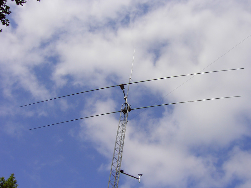 2 element stepper for 20-6 meters, 2M/440 18ft vertical for APRS Digi and weather instruments on side arm.