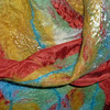 Hand-dyed merino on hand-dyed silk habutai (8mm), tencel highlights