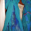 Teal silk chiffon with merino / silk blend.  Left:  beaded. Right: Recycled sari silk yarn.