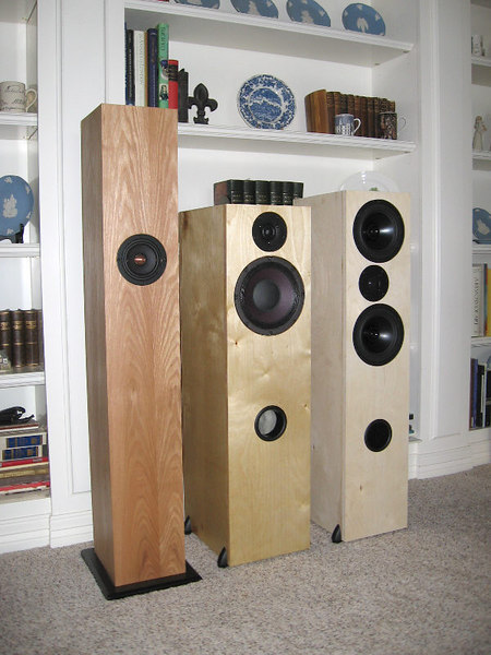 "Pictured L to R, a Jim Griffin design mass loaded transmission line bipole single driver speaker, a tower version of the Pi Studio One speaker, and a high end MTM design using Dayton Audio Reference 7"" midwoofers and 1-1/4"" dome tweeter. Sorry, none of these are for sale."