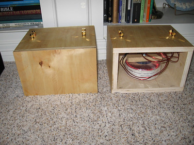 Paul Speltz zero autoformers housed in birch plywood enclosures. They are set to double the speaker's apparent impedance, but switching one spade connector can change this to 3X or 4X. $300