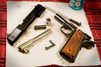Field strip - typical 1911 - no tools needed although the barrel lug was pretty tight!