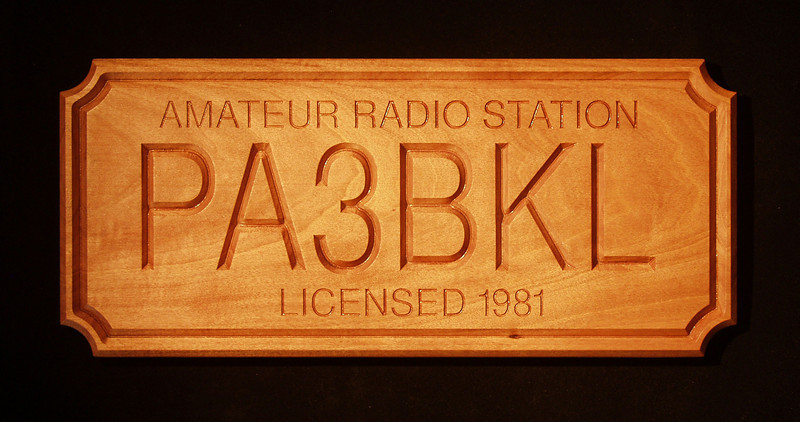 """I'm a licensed radio-amateur since january 1981. Because of expatriation (1990) I stopped the hobby (I even officially suspended my licence in december 1999 because I didn't want to pay the licence-fee for nothing!!). But I activated it again in June 2008 (wow, that's almost 10 years of OFFICIAL suspension!!). Unfortunately, during mentioned period, some pirate asshole (mis)used my PA3BKL callsign, as I received many QSL cards from QSO's that were made by that pirate during my suspension. I NEVER worked in SSB in that period and also not BEFORE that period (I'm a 'CW only' operator), and all these 'pirate' QSO's were made in SSB mode. The pirate also called himself Rob.<br /> Fuck you very much, 'Rob' !!!<br /> To celebrate my come-back as a ham, I got myself this plaque, that now hangs on the wall of my shack.<br /> The plaque is handmade, out of hardwood by Bill Stoltz /  K5YRT from Pearl River, Louisiana USA.<br /> Thanks Bill !!!!<br /> Have your own plaque made at:   <a href=""""http://www.hamplaques.com"""">http://www.hamplaques.com</a>"""