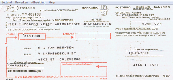 1981: Official FIRST payment to former PTT (now KPN) for my yearly amateur licence fee... 59 guilders<br /> The card is actually a PUNCH CARD, yes, the one with holes in it. Those were the days...