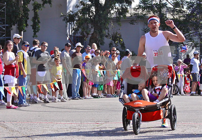 Someone had a comfortable 10K race, er, ride!
