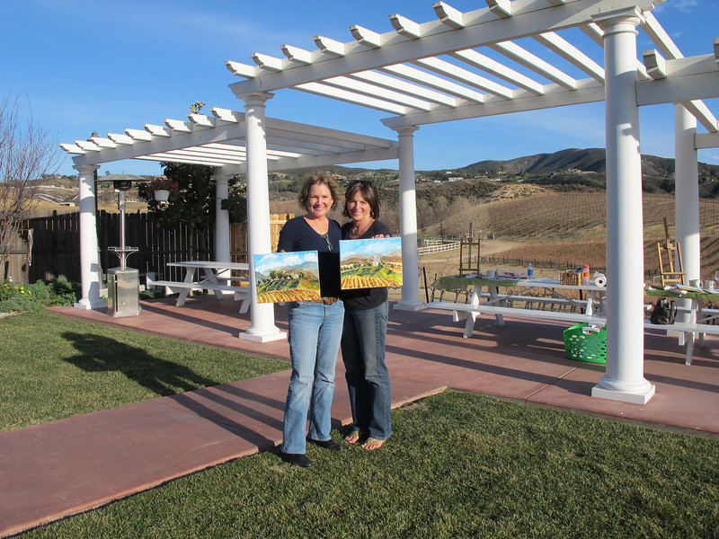 Laura Ryan and Jackie Wayman at Leoness Winery in Temecula. First year of retirement 2011<br /> Art lessons: Murals by Monti