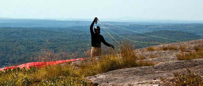 paraglider, Maine, Blue Hill, preparing the lines