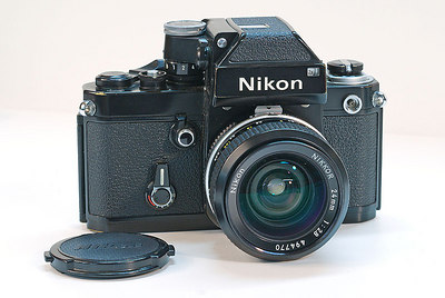 Nikon F2 added in the early 70's. Shown with the 24mm f/2.8 Nikkor.