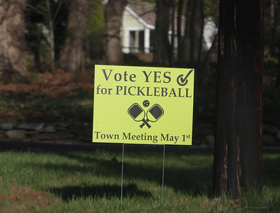 Sign on Long Hill Road in Groton urges a Yes vote for pickleball at Groton Town Meeting.  JULIA MALAKIE/LOWELLSUN