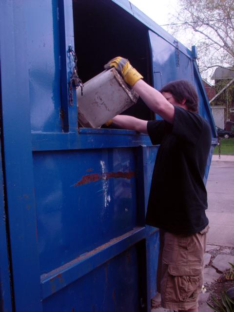 Filling up the bin.