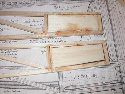 Building the fuselage sides these two panels were the biggest problem.  The pieces marked on the printwood were a little too small so I had to fill in with some scraps.