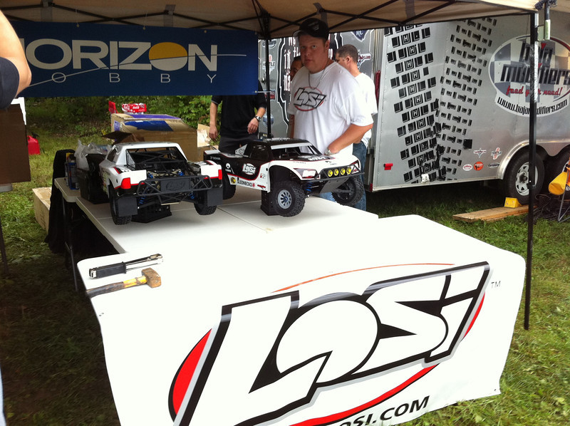 Losi team setting up.