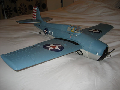 Time for another Warbird !!!!, this is the Parkzone F4F Wildcat. I bought it as an airframe only and fitted an EMAX 2815 - 1100KV Motor with a 9 X 6 Propeller and a 25 Amp ESC. Produces about 225 watts and flies on 3S batteries from 1300 to 2200 Mah. Looks really good and i like the quality of these Parkzone kits. Also very good value if bought as an airframe only kit