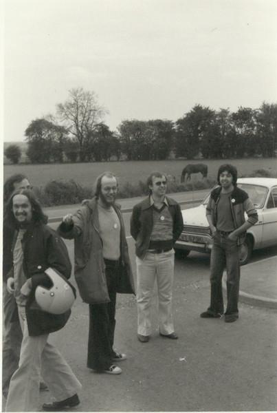 Left Chris G8CIU/G0FDZ...Bob G8JNZ (now a slient key), John Everest, and Paul G4BXT (now a Silent Key). Meopham Rally early 70's,