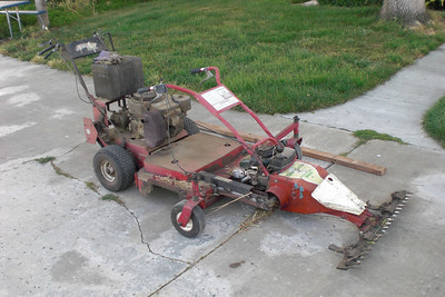 "My sickle mower mounted to the front of my Exmark 36"" deck mower. The sickle mower lost the wheel drive when I replaced the engine (no engines available with the PTO rotating the proper direction). Now it has a drive-train, and 5 forward speeds, plus, better steering."