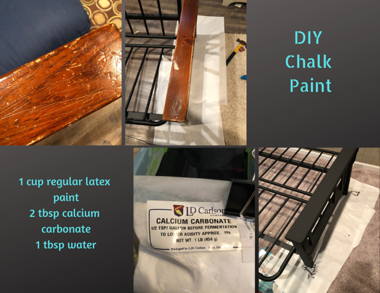 This thing was ugly and damaged.  It was, however, comfy and functional.  I filled dings and sanded.  Chalk paint is great to use because it can be used over oil or water based products, usually with little prep too.  Chalk paint can be expensive, but if you make your own it's pretty cheap.  I use calcium carbonate and latex paint.  You can find calcium carbonate on amazon.  A little goes a long way.  I've been making chalk paint for years and I still have a ton left.  After painting I sealed it with polycrylic, which gave it a nice sheen.  You'll see at the end.